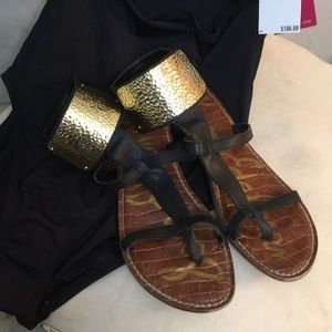 Sam Edelman Gladiator Sandals Ankle Cuff Gold 71/2